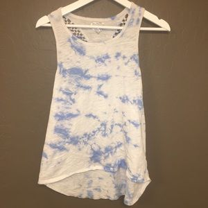 white and blue tank top style shirt